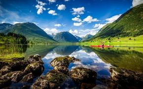Обои Norway, байдарка, Heimdal, Норвегия, горы, Sogn og Fjordane, озеро