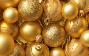 Картинка украшения, шары, Новый Год, Рождество, gold, Christmas, balls, золотые, decoration, Merry