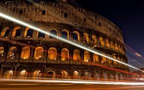 Картинка дорога, ночь, город, огни, выдержка, Рим, Колизей, Италия, архитектура, Italy, Colosseum, Rome, амфитеатр, Colosseo, Anfiteatro ...