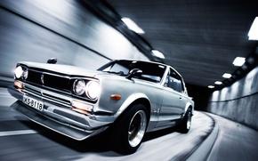 Картинка дорога, машина, фары, скорость, Ниссан, Nissan, автомобиль, Skyline, Скайлайн