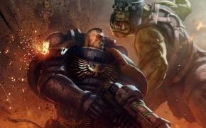 Картинка фантастика, Warhammer 40000, warhammer, art, space marine, Warhammer 40k, orc, ultramarine