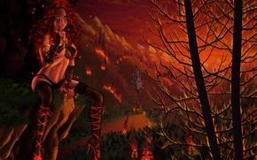 Картинка девушка, фентези, замок, огонь