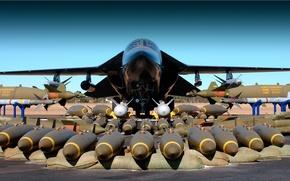 Обои Самолет, Оружие, Ракеты, Бомбардировщик, Аэродром, Боекомплект, Вооружение, Dynamics, Оснащение, Тактический, General, Торпеды, F-111, Бомбы