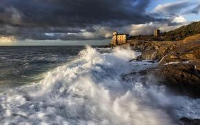 Картинка волны, брызги, камни, берег, прибой, Tuscany