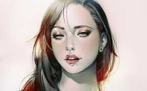 Картинка взгляд, девушка, лицо, фон, волосы, портрет, арт