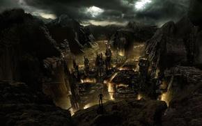 Картинка ночь, мрак, башни, ущелье, Проклятое место, черные скалы