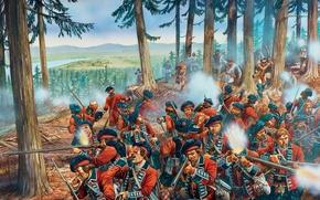 Картинка оружие, рисунок, арт, схватка, Огайо, выстрелы, рейды, долину, французские, индейские, 1758год