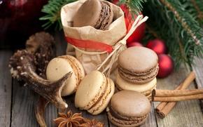 Картинка шарики, ветка, печенье, сладости, корица, десерт, праздники, шоколадное, пряности, бадьян, анис, елочная, macaron, макарун