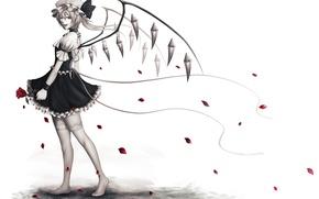Картинка цветок, девушка, роза, крылья, лепестки, арт, кристаллы, бант, чепчик, touhou, momoman, flandre scarlet, pink voltage