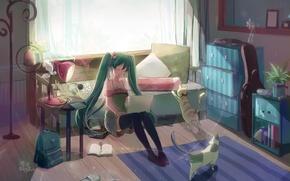 Картинка девушка, свет, комната, коты, лампа, аниме, арт, ноутбук, vocaloid, hatsune miku, shadowsinking