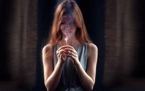 Картинка девушка, огонь, дым, спичка, last hope, Екатерина Грабовая