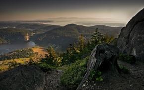 Обои лес, небо, горы, туман, скала, камни, пейзажи, дороги, дома, озера, горизонт, пенек, реки, деревни, landscape, ...