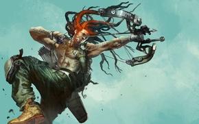 Картинка металл, оружие, прыжок, лук, тату, арт, мужчина, татуировки, дреды