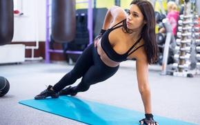 Обои brunette, workout, gym, fitness