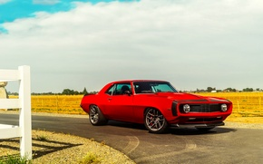 Картинка Chevrolet, Muscle, 1969, Camaro, Red, Car, Front, Touring, Hellfire, Pro