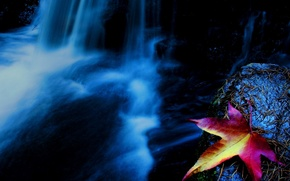 Картинка водопад, осень, Лист