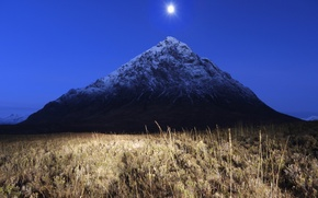 Обои ночь, гора, луна, поле, трава