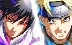Картинка парни, naruto, anime, art, Uchiha Sasuke, Naruto Uzumaki