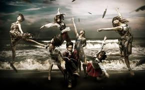 Картинка море, девушки, ситуация, книга, парень