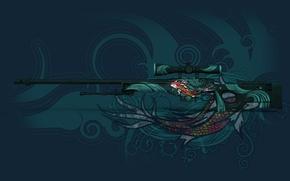 Картинка круги, отражение, рыба, раскрас, awp, koi, workshop, cs go, custom paint job