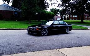 Картинка BMW, Черная, Бумер, БМВ, E38, 750il