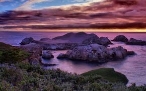 Обои California Dreaming, Калифорния, побережье, море, скалы, облака, небо, горизонт, закат, рифы, камни, США