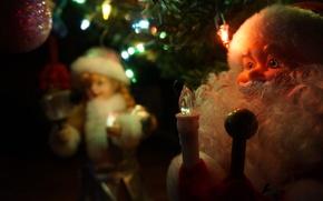 Картинка Макро, Лампочки, Новый год, Елка, Борода, Снегурочка, Дед Мороз, Игрушки