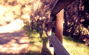 Обои wallpapers, фон, растения, природа, обои, размытость, забор, лето, ограждение, трава