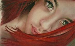 Картинка глаза, взгляд, девушка, лицо, волосы, арт, зеленые, губы, рыжая, живопись, шея