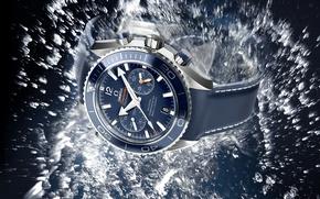 Картинка вода, часы, Omega, Watch, Seamaster