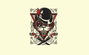 Картинка Art, Minimalism, Hat, Knives, Joshua M. Smith (Hydro74), Evil Cat