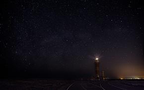 Картинка небо, звезды, ночь, маяк