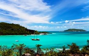 Картинка острова, океан, лодки, лагуна