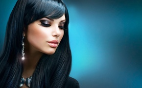 Картинка ресницы, черный, волосы, макияж, сережки, Анна Субботина