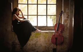 Картинка девушка, окно, виолончель, Giada Gheri