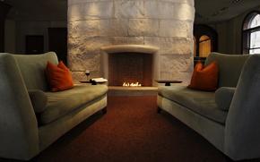 Обои стиль, гостинная, интерьер, вино, книга, диваны, подушки, style, камин