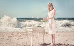 Картинка девушка, берег, платье, прибой, паруса, столик