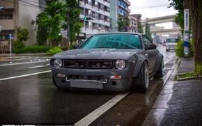 Обои капли, car, silvia, Boss, nissan, улица, город, Япония, дождь, Rocket Bunny, мокро, tuning, S14, Miura's ...