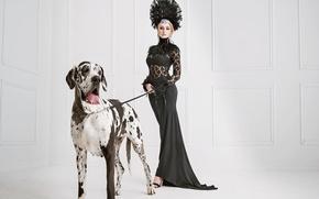 Картинка украшения, поза, собака, перья, макияж, фигура, стройная, платье, прическа, блондинка, наряд, далматин, в черном, сексуальная