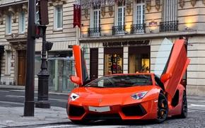 Картинка улица, здания, светофор, суперкар, lamborghini, supercar, street, orange, aventador, lp700-4, ламборгини, авентадор, building, оранженый, light …