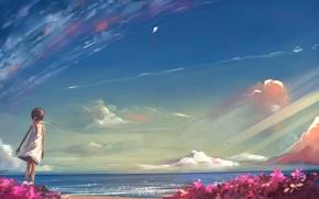 Картинка море, лето, небо, солнце, рисунок, девочка