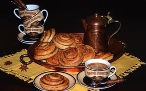 Картинка кофе, выпечка, булочка, анис