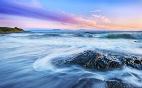Картинка море, волны, пляж, камни, рассвет