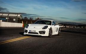 Картинка порше, Porsche, Cayman, кайман, белый, TechArt