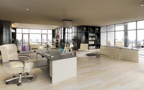 Картинка интерьер, офис, Penthouse, коттедж, interior, office, письменный стол, desk