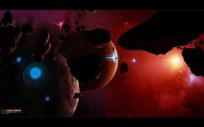 Картинка космос, планета, арт, space, universe, stars, космические корабли, planet