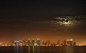 Обои луна, ночь, огни
