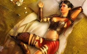 Обои цветы, комната, лучница, игра, принцесса, стрелы, Фара, город, Prince of Persia: The Two Thrones, The ...