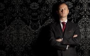 Обои сериал, sherlock bbc, serial, шерлок, Mark Gatiss, Марк Гэтисс, Майкрофт Холмс, Mycroft Holmes