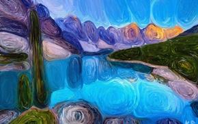Картинка пейзаж, горы, озеро, живопись